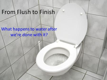 From Flush to Finish What happens to water after were done with it?