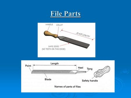 File Parts. Ensure file is fitted with handle before use to avoid injury.