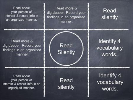 Read Silently Identify 4 vocabulary words. Read about your person of interest & record info in an organized manner. Read silently Read about your person.