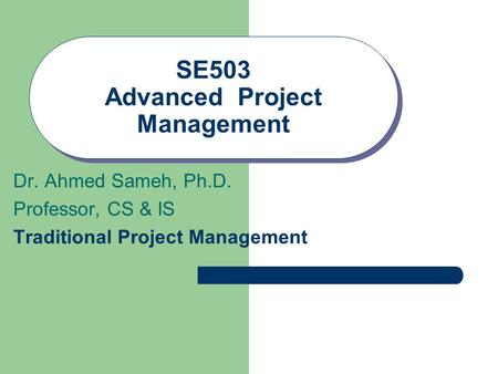 SE503 Advanced Project Management