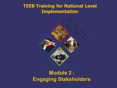 TEEB Training Module 2 : Engaging Stakeholders TEEB Training for National Level Implementation.