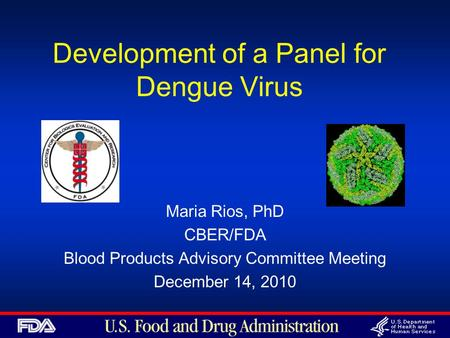 Development of a Panel for Dengue Virus Maria Rios, PhD CBER/FDA Blood Products Advisory Committee Meeting December 14, 2010.