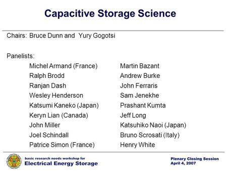 P. 1 1 Capacitive Storage Science Chairs:Bruce Dunn and Yury Gogotsi Panelists: Michel Armand (France)Martin Bazant Ralph Brodd Andrew Burke Ranjan Dash.