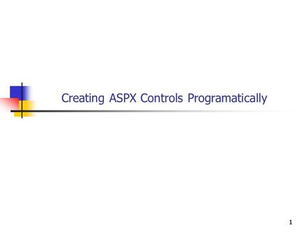 1111 Creating ASPX Controls Programatically. 2222 Objectives You will be able to Dynamically add controls to a page. Dynamically alter properties of controls.