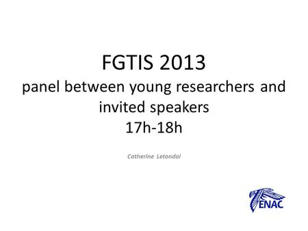 FGTIS 2013 panel between young researchers and invited speakers 17h-18h Catherine Letondal.