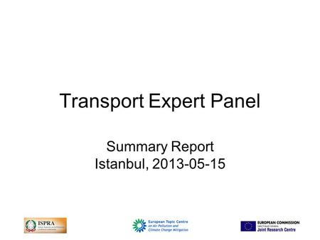 Transport Expert Panel Summary Report Istanbul, 2013-05-15.
