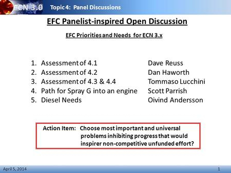 Topic 4: Panel Discussions 1 April 5, 2014 EFC Panelist-inspired Open Discussion 1.Assessment of 4.1Dave Reuss 2.Assessment of 4.2 Dan Haworth 3.Assessment.