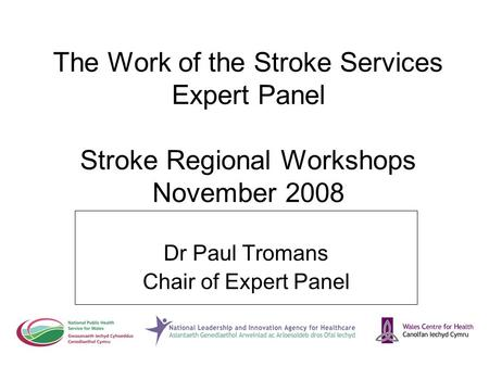 The Work of the Stroke Services Expert Panel Stroke Regional Workshops November 2008 Dr Paul Tromans Chair of Expert Panel.