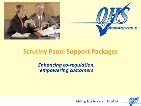 Making Excellence - a Standard Scrutiny Panel Support Packages Enhancing co-regulation, empowering customers.