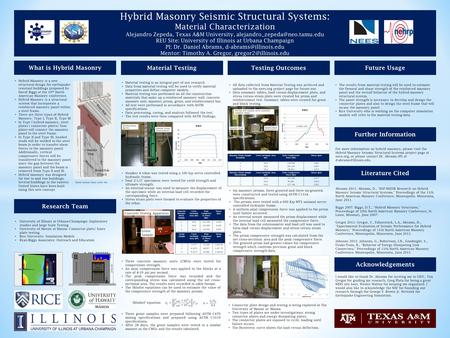 Hybrid Masonry Seismic Structural Systems: Material Characterization Alejandro Zepeda, Texas A&M University, REU Site: University.