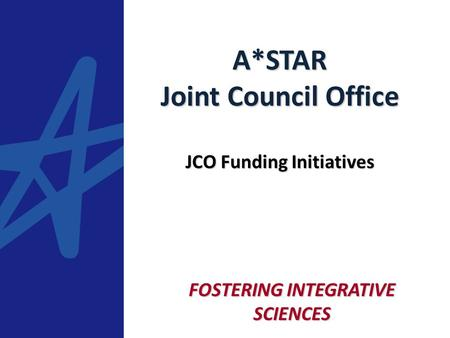 FOSTERING INTEGRATIVE SCIENCES A*STAR Joint Council Office JCO Funding Initiatives.