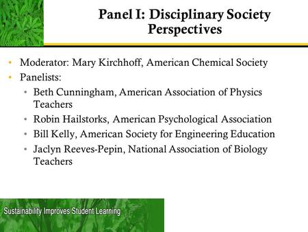 Panel I: Disciplinary Society Perspectives Moderator: Mary Kirchhoff, American Chemical Society Panelists: Beth Cunningham, American Association of Physics.