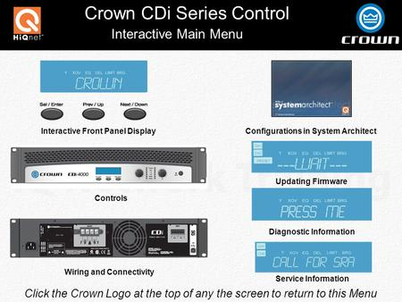 Crown CDi Series Control Click the Crown Logo at the top of any the screen to return to this Menu Interactive Main Menu Interactive Front Panel Display.