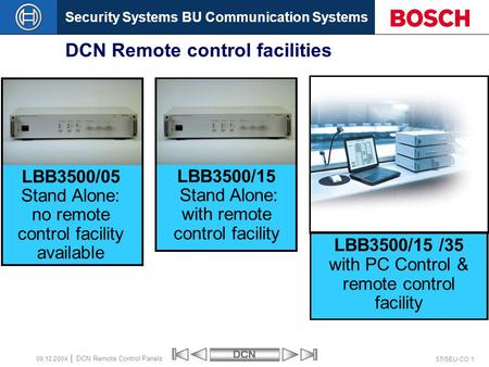 Security Systems BU Communication SystemsDCN ST/SEU-CO 1 DCN Remote Control Panels 09.12.2004 DCN Remote control facilities LBB3500/05 Stand Alone: no.