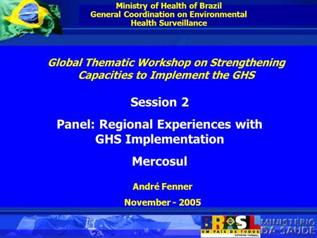 Ministry of Health of Brazil General Coordination on Environmental Health Surveillance Session 2 Panel: Regional Experiences with GHS Implementation Mercosul.