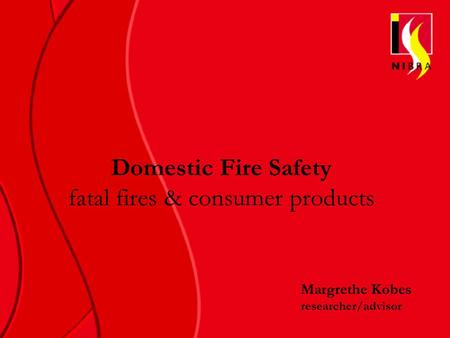 Domestic Fire Safety fatal fires & consumer products Margrethe Kobes researcher/advisor.