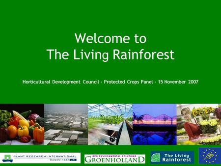 Welcome to The Livin g Rainforest Horticultural Development Council - Protected Crops Panel - 15 November 2007.
