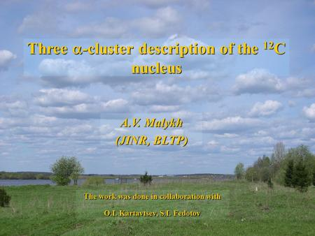 Three -cluster description of the 12 C nucleus A.V. Malykh (JINR, BLTP) The work was done in collaboration with O.I. Kartavtsev, S.I. Fedotov.