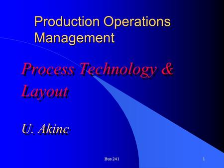 Production Operations Management