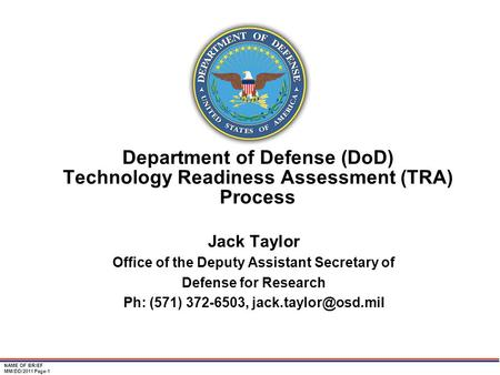 Jack Taylor Office of the Deputy Assistant Secretary of