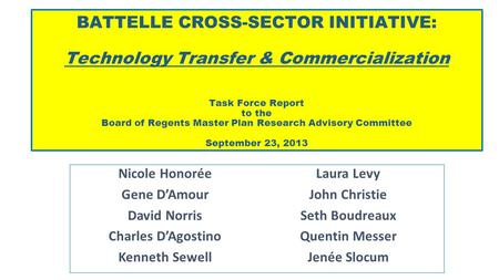 BATTELLE CROSS-SECTOR INITIATIVE: Technology Transfer & Commercialization Task Force Report to the Board of Regents Master Plan Research Advisory Committee.
