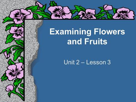 Examining Flowers and Fruits Unit 2 – Lesson 3. Student Learning Objectives l Identify the major parts of flowers and explain the functions of the parts.
