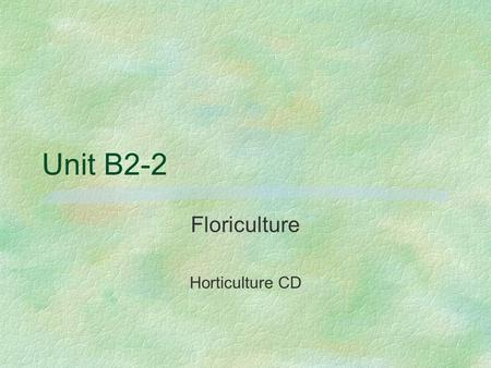 Floriculture Horticulture CD