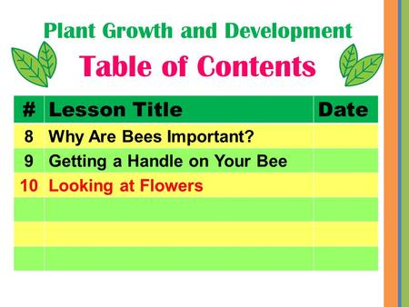 Plant Growth and Development Table of Contents #Lesson TitleDate 8Why Are Bees Important? 9Getting a Handle on Your Bee 10Looking at Flowers.
