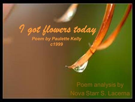 Poem analysis by Nova Starr S. Lacerna