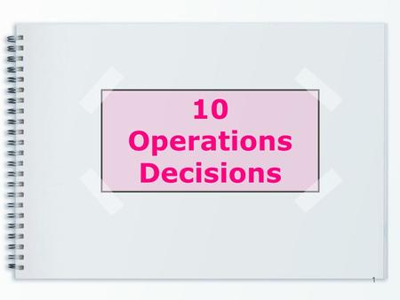 10 Operations Decisions 1. How the 10 operations decisions below are applied in Mango? Goods & service design Quality Process & capacity design Location.