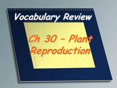Vocabulary Review Ch 30 – Plant Reproduction. A reproductive structure that produces male sex cells in flowerless and seedless plants Antheridium.