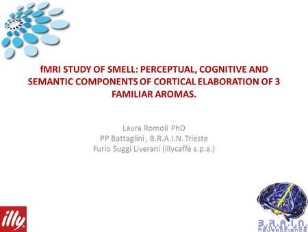 FMRI STUDY OF SMELL: PERCEPTUAL, COGNITIVE AND SEMANTIC COMPONENTS OF CORTICAL ELABORATION OF 3 FAMILIAR AROMAS. Laura Romoli PhD PP Battaglini, B.R.A.I.N.