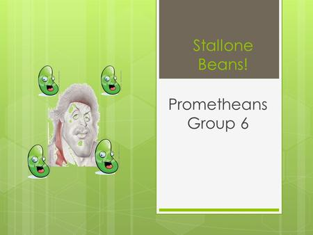 Stallone Beans! Prometheans Group 6. Data Smaller beans grow bigger beansprouts than giant beans.