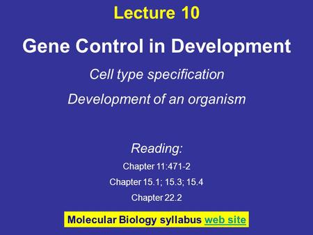 Lecture 10 Gene Control in Development Cell type specification Development of an organism Reading: Chapter 11:471-2 Chapter 15.1; 15.3; 15.4 Chapter 22.2.