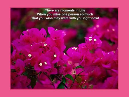 There are moments in Life When you miss one person so much That you wish they were with you right now!
