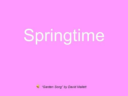 Springtime Garden Song by David Mallett. People all over the world cherish this time of year. They call Spring and its celebration by many names.