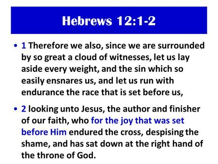 Hebrews 12:1-2 1 Therefore we also, since we are surrounded by so great a cloud of witnesses, let us lay aside every weight, and the sin which so easily.