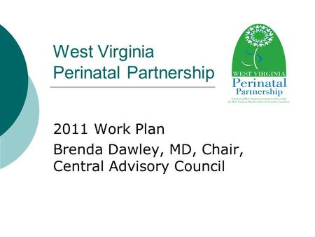 West Virginia Perinatal Partnership 2011 Work Plan Brenda Dawley, MD, Chair, Central Advisory Council.