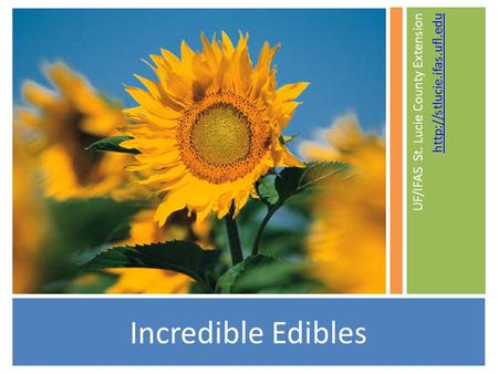 Incredible Edibles UF/IFAS St. Lucie County Extension