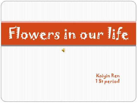 Kaiyin Ren 1 St period Flowers in our life. Sunflower o Sunflower is ...