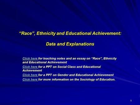 relationship between ethnicity and educational achievement definition