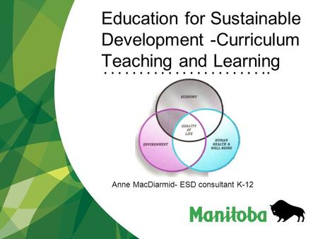 Education for Sustainable Development -Curriculum Teaching and Learning Anne MacDiarmid- ESD consultant K-12.
