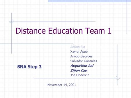 Distance Education Team 1 Adrian Sia Xavier Appé Anoop Georges Salvador Gonzales Augustine Ani Zijian Cao Joe Ondercin SNA Step 3 November 14, 2001.