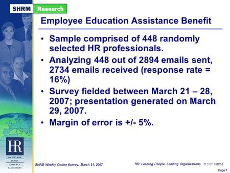 HR: Leading People, Leading Organizations © 2007 SHRM SHRM Weekly Online Survey: March 21, 2007 Employee Education Assistance Benefit Sample comprised.