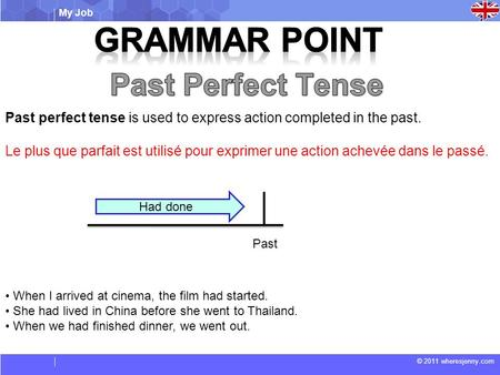 My Job © 2011 wheresjenny.com Past perfect tense is used to express action completed in the past. Le plus que parfait est utilisé pour exprimer une action.
