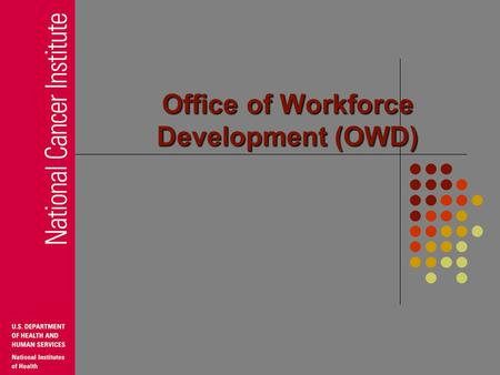 Office of Workforce Development (OWD) NCI Office of Workforce Development Assists NCI leadership identify strategic approach to human capital issues.
