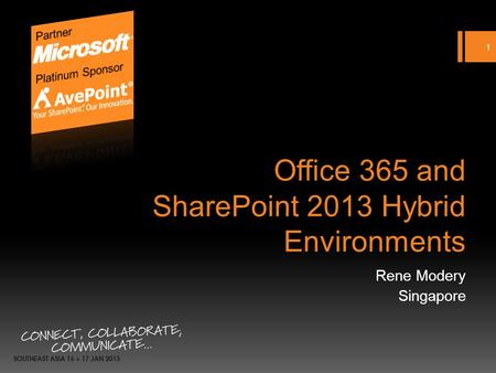 Office 365 and SharePoint 2013 Hybrid Environments Rene Modery Singapore 1.