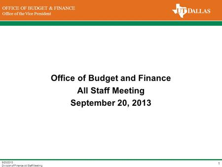 Office of Budget and Finance