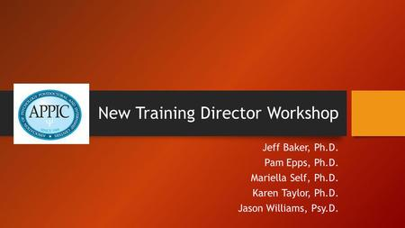 New Training Director Workshop