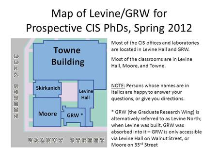 Map of Levine/GRW for Prospective CIS PhDs, Spring 2012 * GRW (the Graduate Research Wing) is alternatively referred to as Levine North; when Levine was.